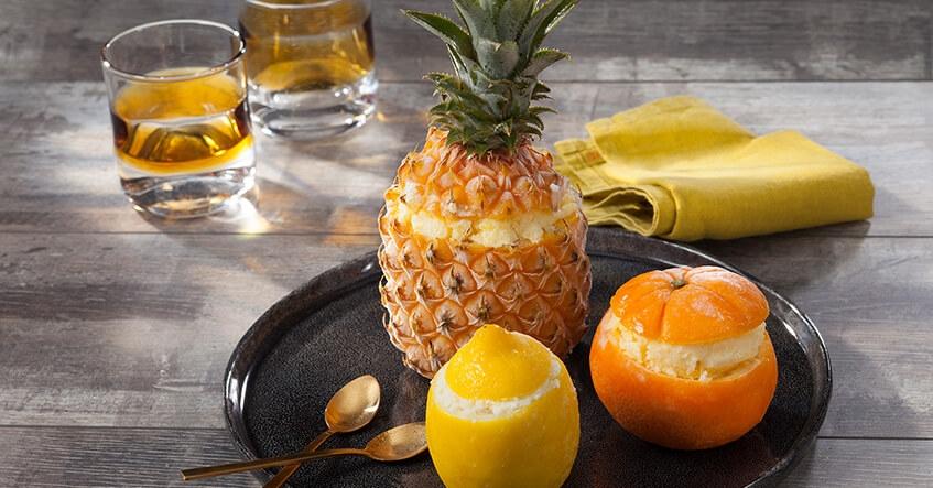 Ananas, orange et citrons givrés : Fruits givrés haut en couleurs !